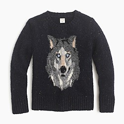 Boys' speckled wool crewneck sweater with dire wolf