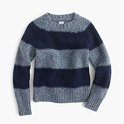 Boys' speckled wool crewneck sweater in fisherman stripe