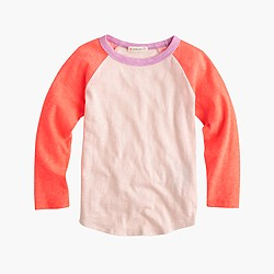 Girls' three-quarter-sleeve colorblock baseball T-shirt