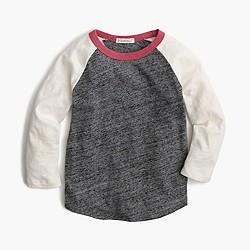 Girls' three-quarter-sleeve colorblock baseball T-shirt