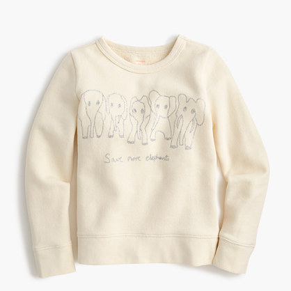 Girls' crewcuts for David Sheldrick Wildlife Trust Save More Elephants sweatshirt