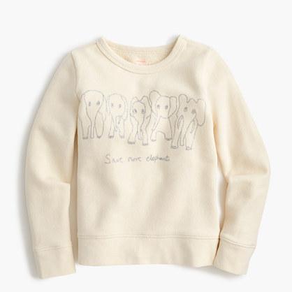 Girls' crewcuts for David Sheldrick Wildlife Trust Save More Elephants sweatshirt