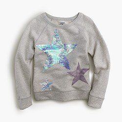 Girls' sequin star sweatshirt