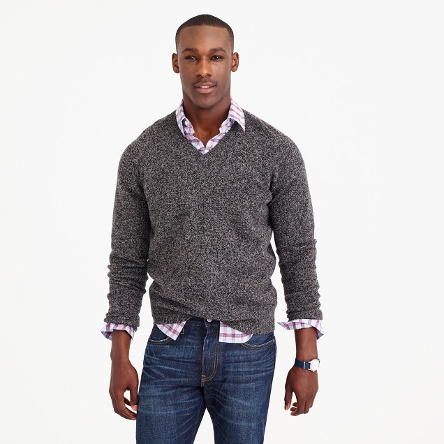 Marled lambswool V-neck sweater