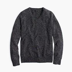 Slim marled lambswool V-neck sweater