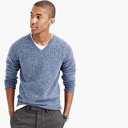 Slim marled lambswool V-neck sweater
