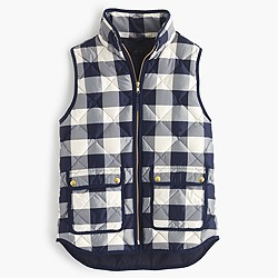 Petite excursion quilted vest in buffalo check