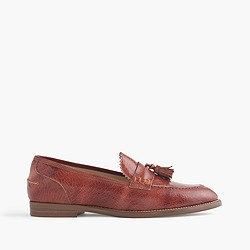 Biella crackled leather loafers