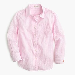 Girls' pink striped button-down shirt