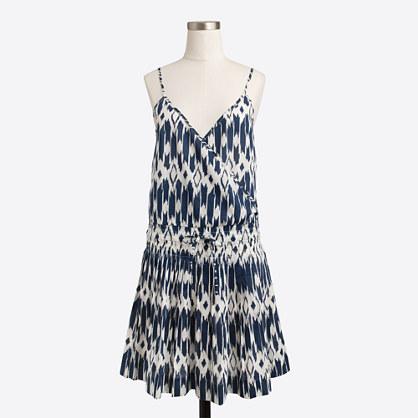 Petite printed wrap dress with drawstring