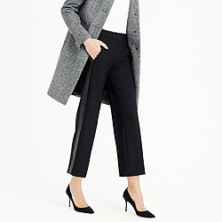 Patio pant with leather tux stripe in bi-stretch wool