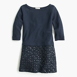 Girls' quilted sequin-skirt dress