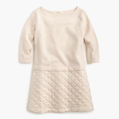Girls' quilted sequin-skirt dress