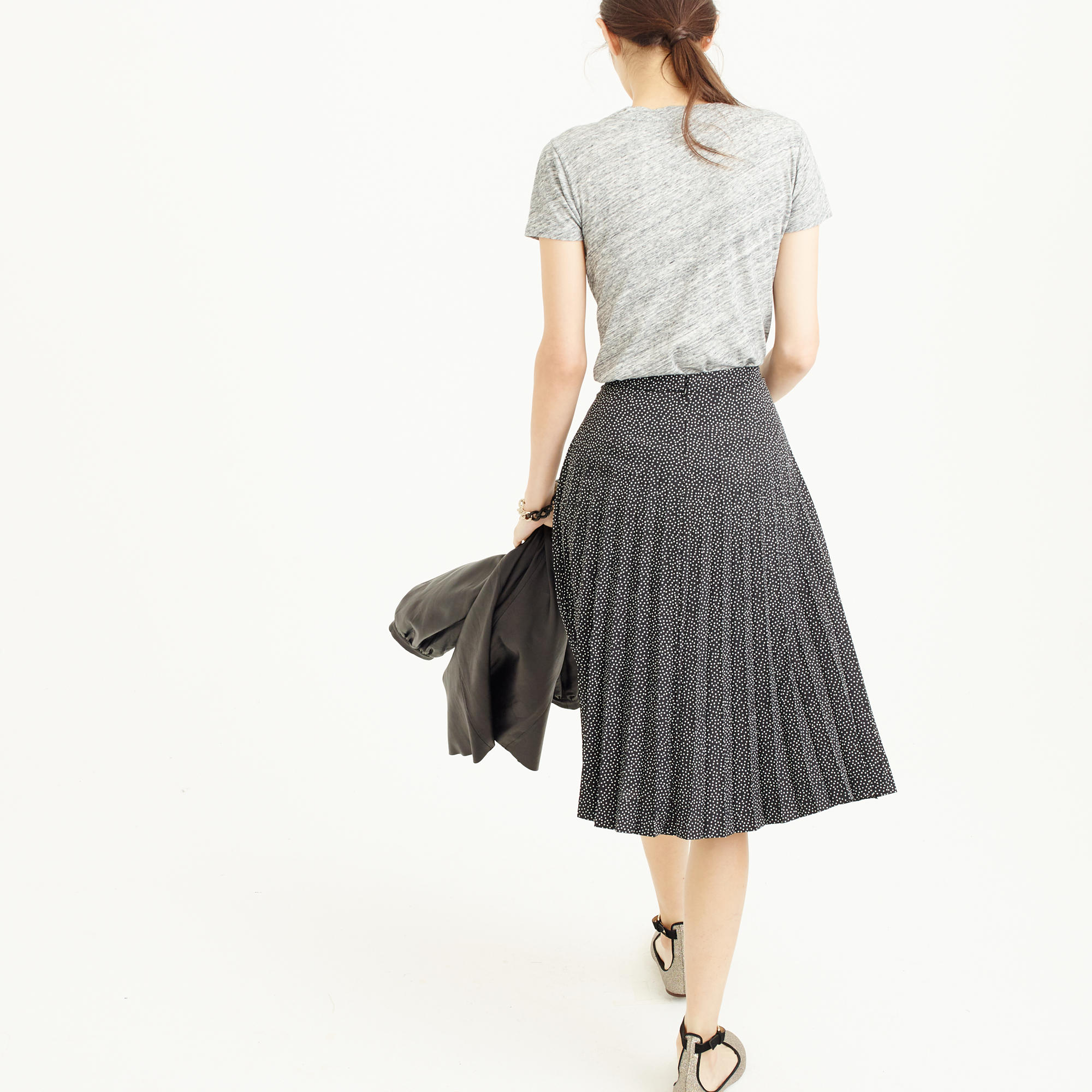 Pleated midi skirt in mini dot : | J.Crew