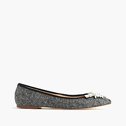 Gemma jeweled tweed flats