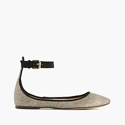 Glitter ankle-strap ballet flats
