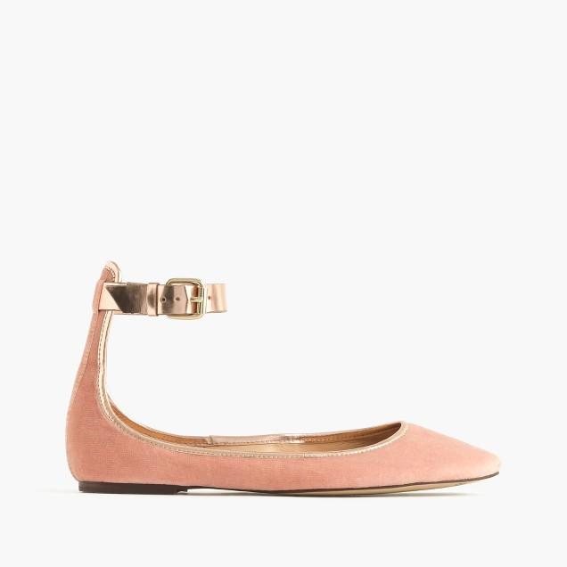 Velvet ankle-strap ballet flats