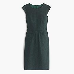 Petite cap-sleeve dress in Donegal wool