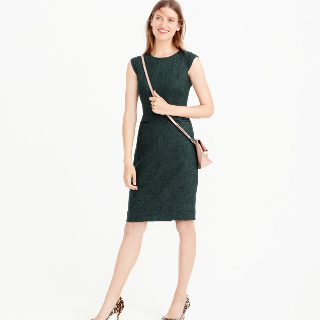 Petite cap-sleeve dress in Donegal wool