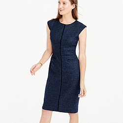 Cap-sleeve dress in piped Donegal wool