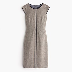 Tall cap-sleeve dress in piped Donegal wool