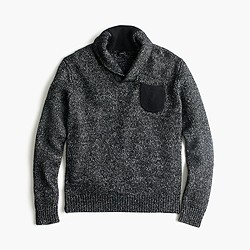 Italian cotton-merino shawl-collar sweater