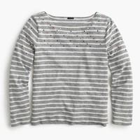 Embellished-yoke striped T-shirt