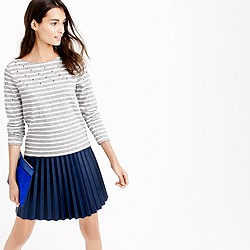 Embellished-yoke striped T-shirt