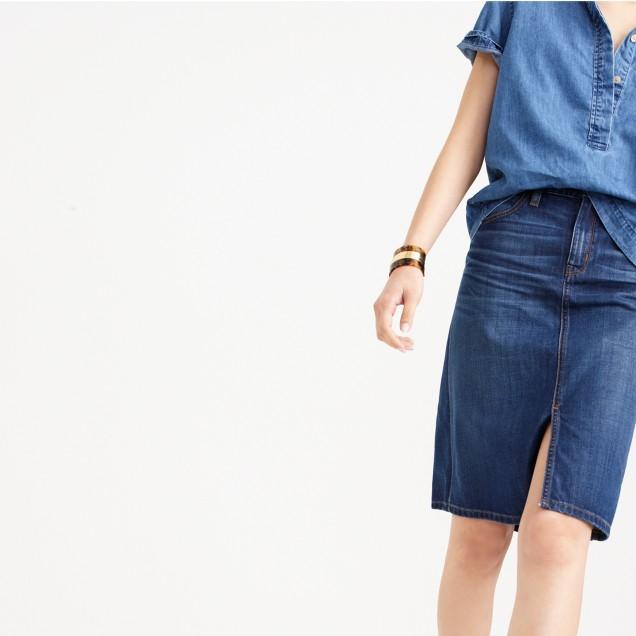 Denim front-slit skirt : | J.Crew