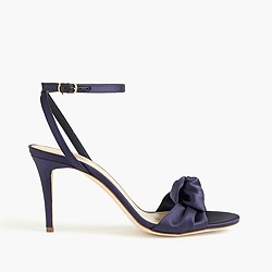 Satin bow high-heel sandals