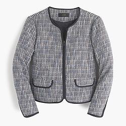 Zip-front jacket in flecked tweed