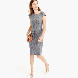 Petal-sleeve dress in flecked tweed
