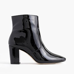 Patent leather zip ankle boots
