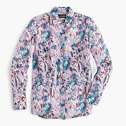 Boy shirt in watercolor floral