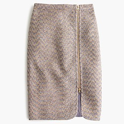 Zip-front pencil skirt in sparkle tweed