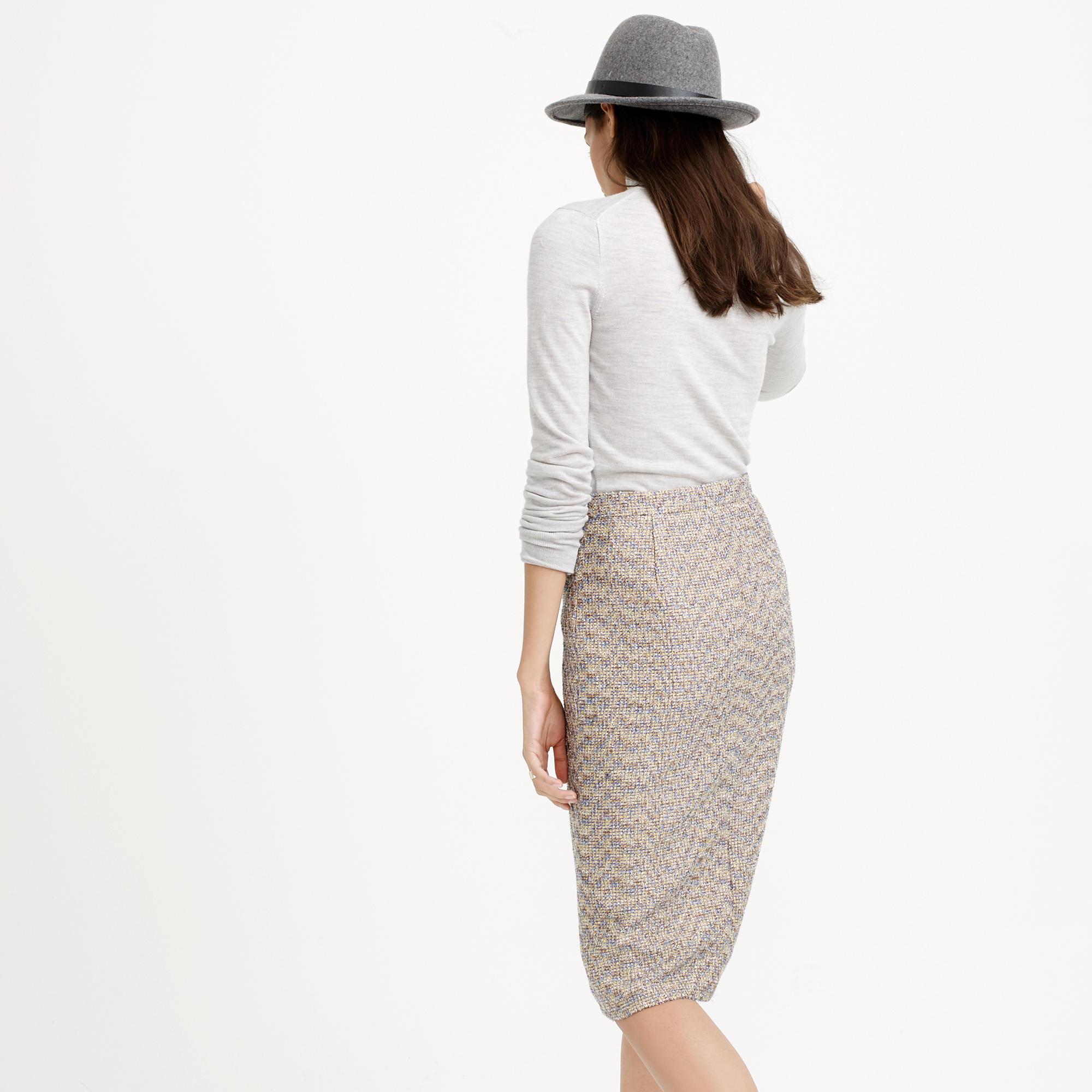 Zip-front pencil skirt in sparkle tweed : | J.Crew