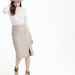Petite zip-front pencil skirt in sparkle tweed