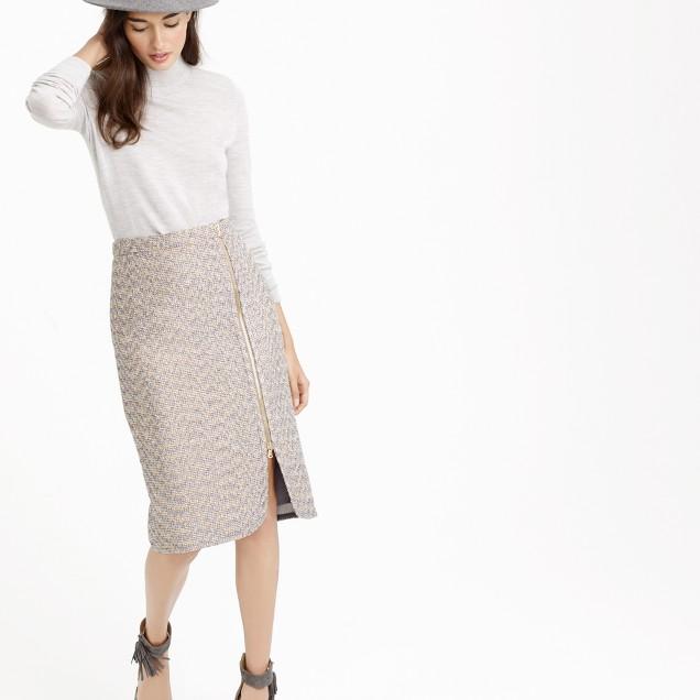 Zip-front pencil skirt in sparkle tweed