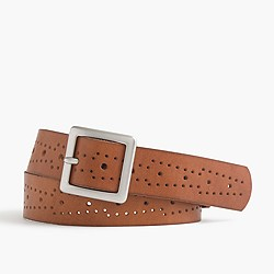 Perforated wide leather belt