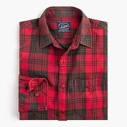 Midweight flannel shirt in dark brown plaid