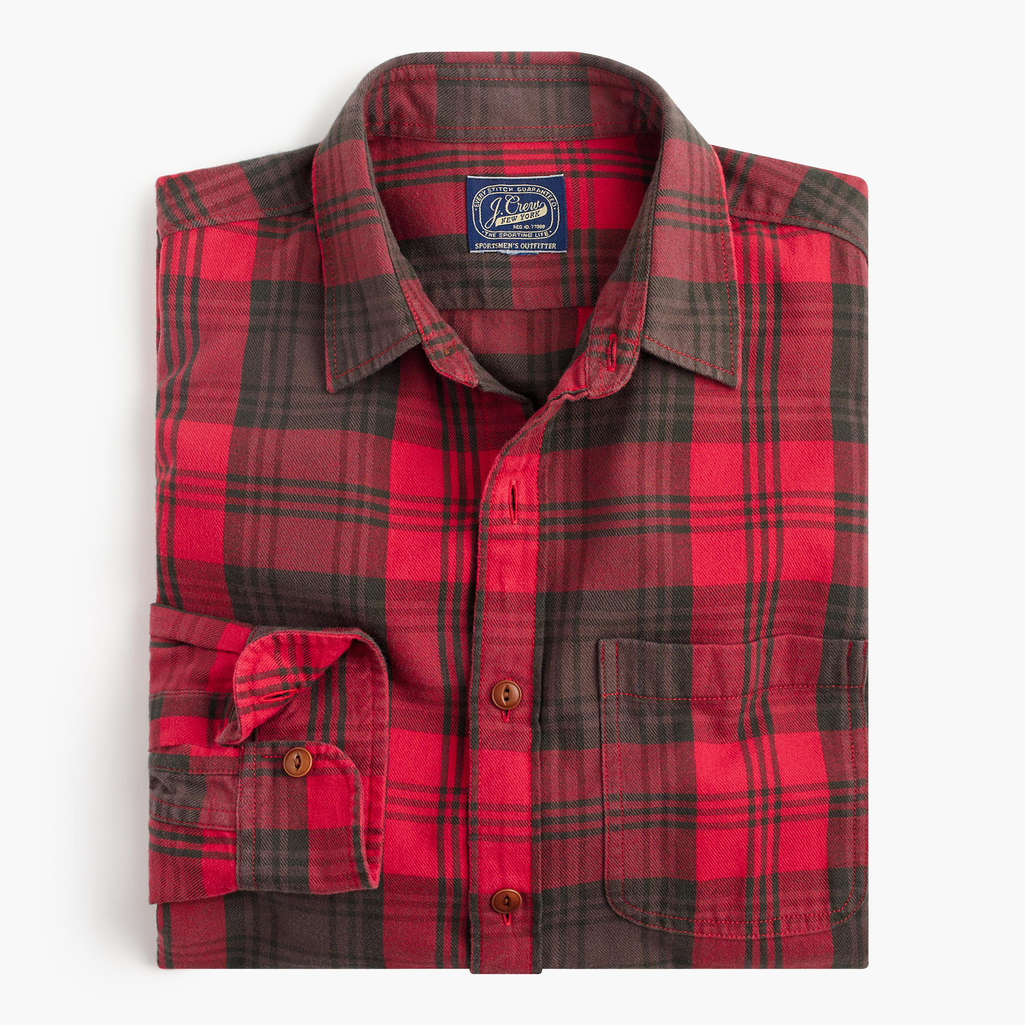 midweight flannel shirt in dark brown plaid j crew. Black Bedroom Furniture Sets. Home Design Ideas