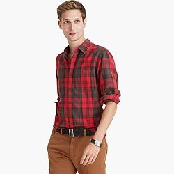Midweight flannel shirt in dark brown plaid