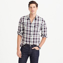 Midweight flannel shirt in stone plaid