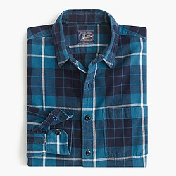 Midweight flannel shirt in coastal navy plaid
