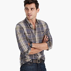 Midweight flannel shirt in weathered khaki plaid