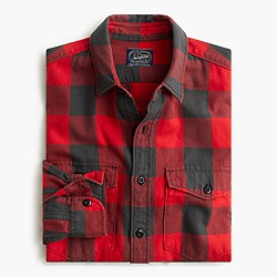 Herringbone flannel shirt in buffalo check