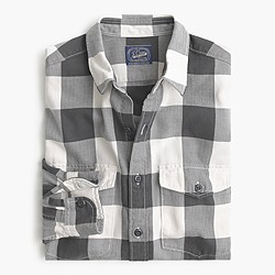 Slim herringbone flannel shirt in buffalo check