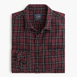 Herringbone flannel shirt in mahogany plaid
