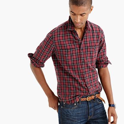Herringbone flannel shirt in mahogany plaid
