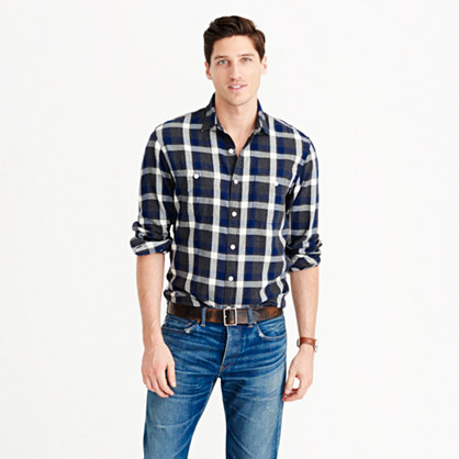 Slim midweight flannel shirt in heather gravel plaid